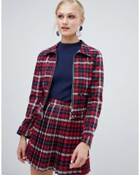 Monki - Check Short Jacket With Pockets - Lyst