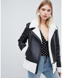 Urban Bliss - Leather Look Jacket With Faux Fur Internal - Lyst