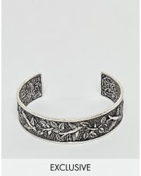 Reclaimed (vintage) - Inspired Bangle With Emboss In Silver Exclusive At Asos - Lyst