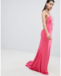 Jovani - Plunge Maxi Dress With Embellished Detail - Lyst