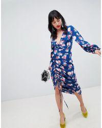 UNIQUE21 - Unique 21 Floral Ruched Midi Dress - Lyst