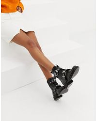 Pull&Bear - Lace Front Leather Boots With Rounded Buckle - Lyst