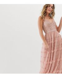 Needle & Thread - Cami Strap Embroidered Maxi Dress In Rose Pink - Lyst