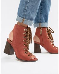 River Island - Lace Up Heeled Shoe Boots In Rust - Lyst