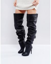 b3dcea713cc Public Desire Refuge Black Stiletto Over The Knee Boots in Black - Lyst