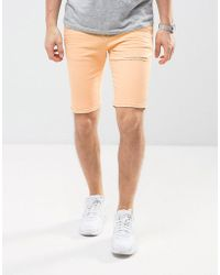 ASOS - Denim Shorts In Super Skinny Peach With Rips - Lyst