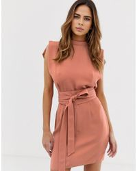ASOS Split Sleeve Mini Dress With Obi Belt