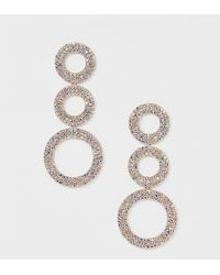True Decadence - Gold Crystal Circle Drop Earrings - Lyst