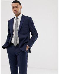 Esprit - Slim Fit Suit Jacket In Navy Tonal Glenn Check - Lyst
