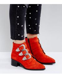 ASOS - Relieve Wide Fit Suede Buckle Ankle Boots - Lyst