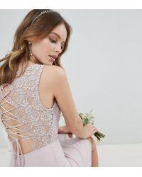 TFNC London - Lace Up Back Midi Bridesmaid Dress - Lyst