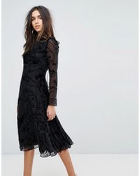 Whistles - Yvette Velvet Devore Dress - Lyst