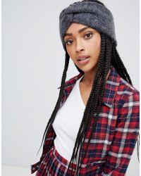 Monki - Knit Headband In Dark Grey - Lyst