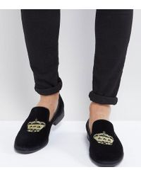 ASOS - Loafers In Black Velvet With Crown Embroidery - Lyst