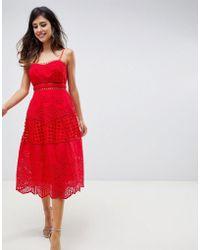 073507e1a1e1 ASOS Scallop Mesh Insert Lace Skater Dress in Blue - Lyst