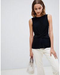 Warehouse - Sleeveless Blouse With Drape Waist Detail In Black - Lyst
