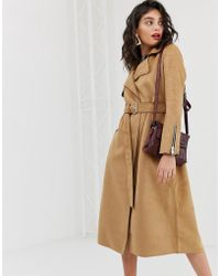 River Island - Suedette Trench Coat With Belt In Camel - Lyst