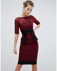 Vesper - Lace Pencil Dress With Contrast - Lyst