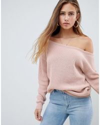 Missguided - Off Shoulder Knitted Jumper In Blush - Lyst