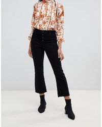 Miss Selfridge - Cropped Flared Jeans In Black - Lyst
