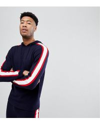 ASOS DESIGN - Asos Tall Knitted Co-ord Hoodie With Side Stripe In Navy - Lyst