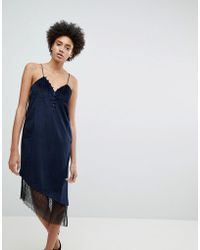 N12H - After Hours Lace Trim Slip Dress - Lyst