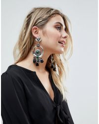 ASOS - Design Statement Engraved Disc And Crescent Stone Tassel Earrings - Lyst