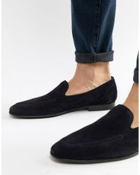 Kurt Geiger - Palermo Loafers In Navy Suede - Lyst