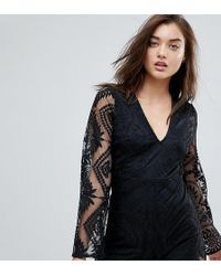 PrettyLittleThing - Exclusive Lace Trim Long Sleeve Playsuit - Lyst