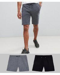 ASOS - Design Jersey Skinny Shorts 2 Pack Black/grey - Lyst