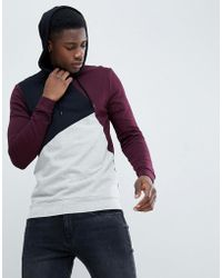 ASOS - Design Muscle Hoodie In Burgundy With Colour Blocking - Lyst