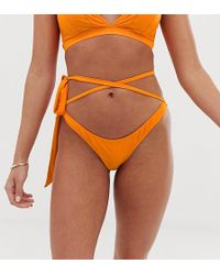 Wolf & Whistle Eco Exclusive Wrap Waist Bikini Bottom In Orange
