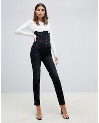Miss Sixty - Enge Jeans mit Korsettdetail und hohem Bund - Lyst