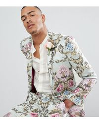 ASOS - Tall Wedding Skinny Suit Jacket In Pastel Floral Jacquard - Lyst