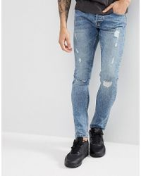 Only & Sons | Slim Jeans With Repair Work | Lyst