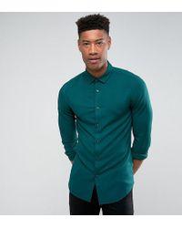 ASOS - Skinny Viscose Shirt In Green - Lyst