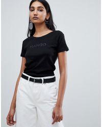 Mango - Logo T-shirt In Black - Lyst
