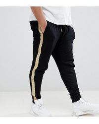 Sixth June - Skinny Joggers In Black With Gold Side Stripe Exclusive To Asos - Lyst