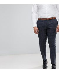 Heart & Dagger - Plus Size Slim Suit Trousers In Harris Tweed In Check - Lyst