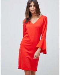 Vila - Fluted Sleeve Mini Dress In Red - Lyst