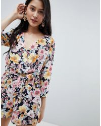 a17babcdd2d Oh My Love - Wrap Front 3 4 Sleeve Playsuit In Floral Print - Lyst