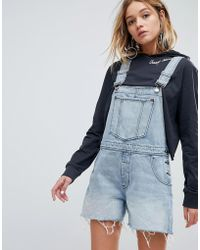 Cheap Monday | 90s Style Dungaree In Rigid Denim | Lyst