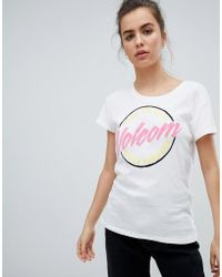 Volcom - Logo T Shirt In White - Lyst