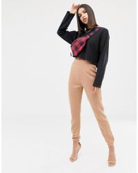Missguided - High Waisted jogger In Camel - Lyst