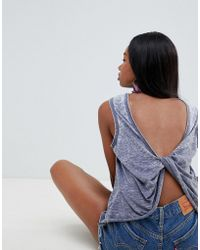 ASOS - Sleeveless Top With Twist Back In Washed Grey - Lyst