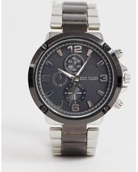 Steve Madden - Mens Gunmetal Two Tone Watch With Black Dial - Lyst