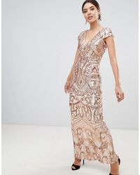 Bariano - Embellished Maxi Dress With Cap Sleeve In Rose Gold - Lyst