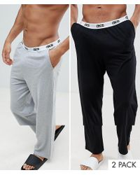 ASOS DESIGN - Straight Pyjama Bottoms In Black & Grey With Branded Waistband 2 Pack - Lyst