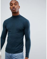 ASOS - Muscle Fit Turtle Neck Jumper In Teal - Lyst