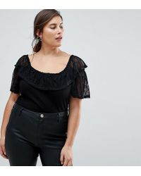 ASOS - Top In Rib With Lace Off Shoulder Trim - Lyst